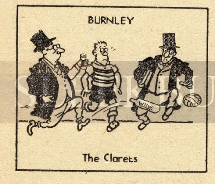 VINTAGE Football Print BURNLEY - THE CLARETS, Funny Cartoon